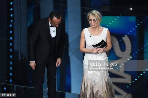 67th Sanremo Music Festival 5th night Television hosts Carlo Conti and Maria De Filippi Sanremo February 11 2017
