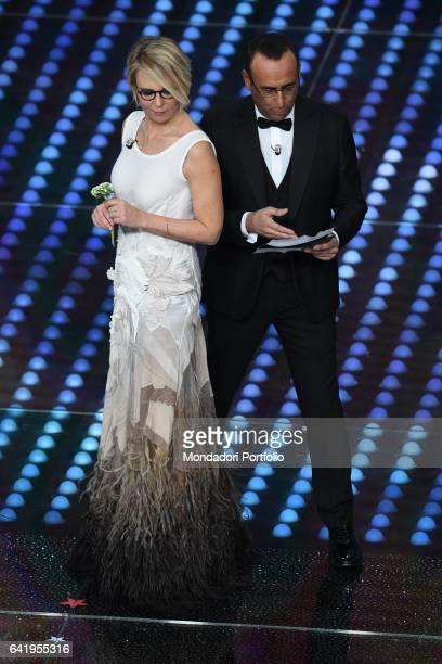 67th Sanremo Music Festival 5th night Television hosts Maria De Filippi and Carlo Conti Sanremo February 11 2017