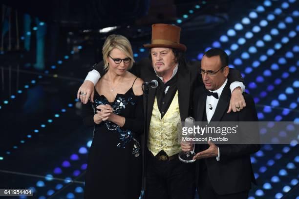 67th Sanremo Music Festival 5th night Zucchero Sugar Fornaciari with Tv host Maria De Filippi and Carlo Conti Sanremo February 11 2017
