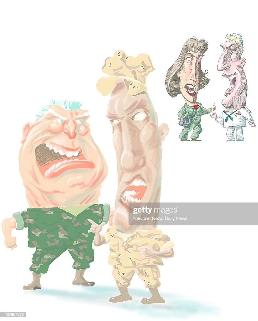 68p x 85p Allen Walker color illustration of military caricatures barking slang at one another. Can be used with stories on military slang or vocabulary. (Daily Press (Newport News, Va.)/MCT via Getty Images)