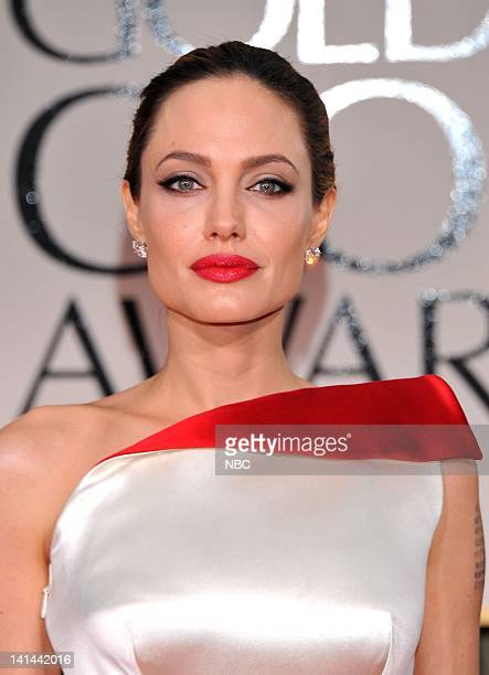 69th ANNUAL GOLDEN GLOBE AWARDS Pictured Angelina Jolie arrives at the 69th Annual Golden Globe Awards held at the Beverly Hilton Hotel on January 15...