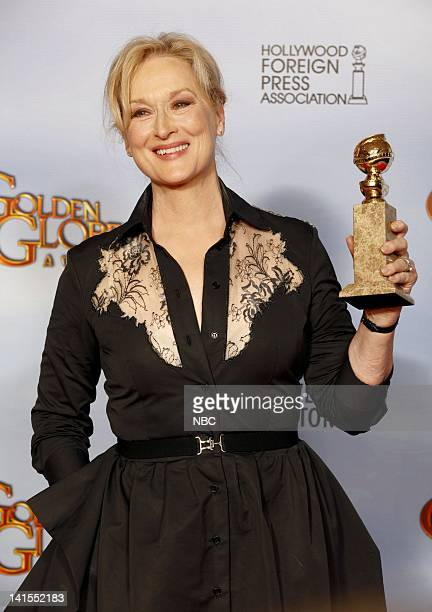69th ANNUAL GOLDEN GLOBE AWARDS Pictured Meryl Streep in the press room during the 69th Annual Golden Globe Awards held at the Beverly Hilton Hotel...