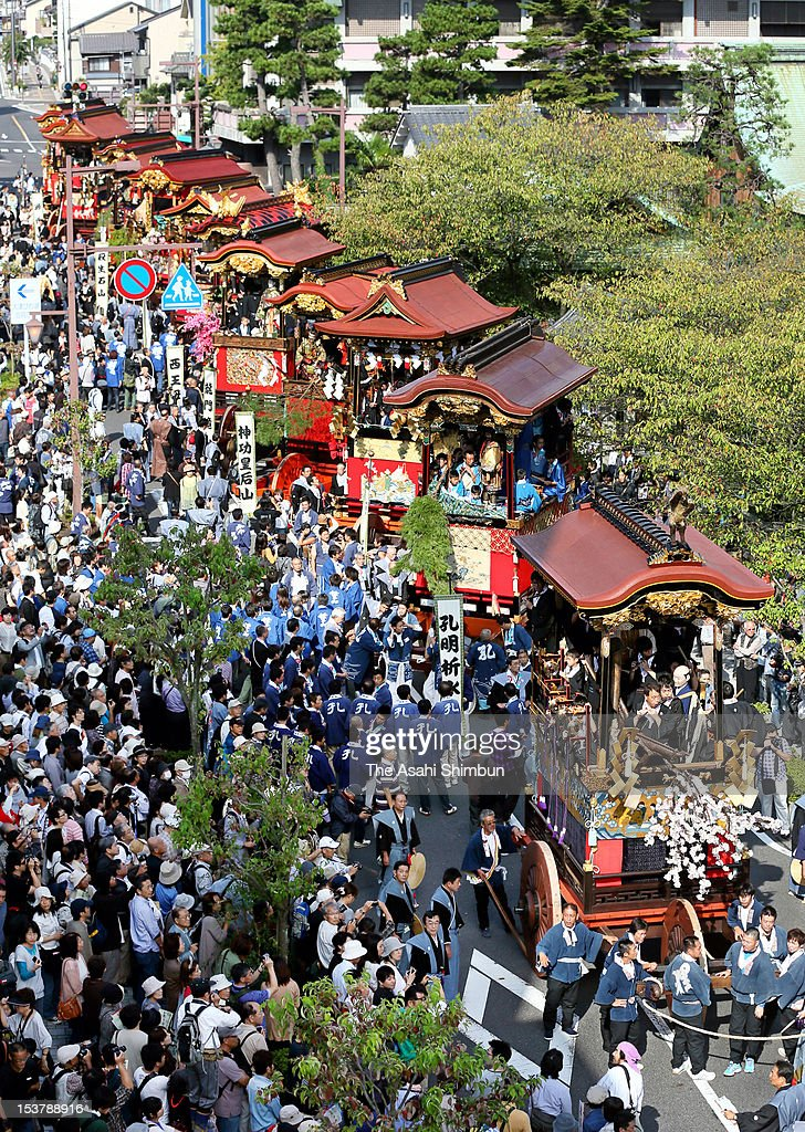 6-meter-high floats called 'Hikiyama' march on during the annual Otsu Matsuri on October 7, 2012 in Otsu, Shiga, Japan. The festival, having more than 400 years tradition since 17th century, attract 140,000 people.