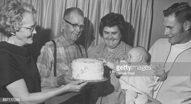 MonthOld Therese Behrens Grabs GreatGreatGrandfather's Cake The occasion was 89th birthday of W R Hayden second form left other four generations are...