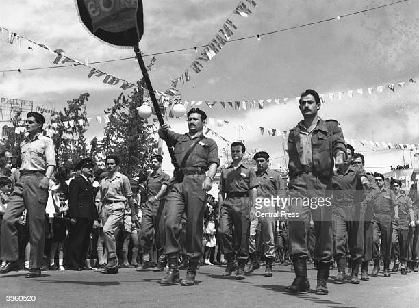 A parade in Metaxas Square Nicosia to celebrate the seventh anniversary of the start of EOKA's activities EOKA is a terrorist organization...
