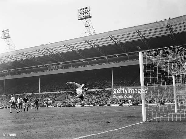 England goalkeeper Gordon Banks clears from a free kick during the soccer international against Scotland at Wembley England lost by two goals to one