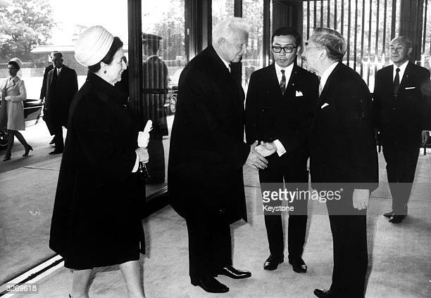 Ludvik Svoboda President of Czechoslovakia with his wife Irena being greeted by Emperor Hirohito on their visit to Japan