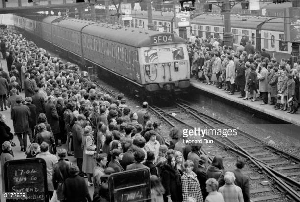 As a result of train delays and cancellations thousands of commuters are crammed onto the platforms at Liverpool Street Station