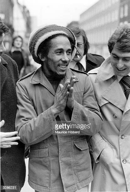 Reggae star singersongwriter Bob Marley outside Marylebone Magistrates Court in London where he was fined for possession of cannabis