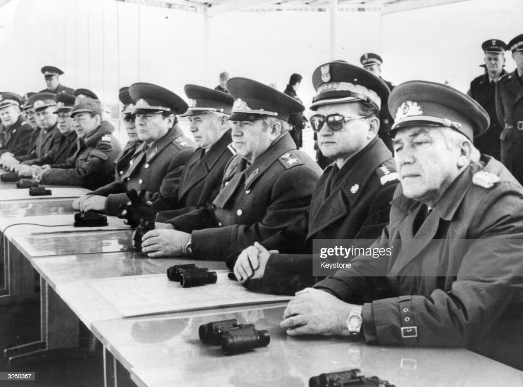 Watching military manoeuvres near the Polish border are, (from right to left), Heinz Hoffmann, GDR Minister of National Defence; General <a gi-track='captionPersonalityLinkClicked' href=/galleries/search?phrase=Wojciech+Jaruzelski&family=editorial&specificpeople=206791 ng-click='$event.stopPropagation()'>Wojciech Jaruzelski</a>, Polish prime minister and minister of defence; Victor Kulikov, Commander-in-Chief of the Warsaw Pact Armed Forces; and Martin Djur, Minister of National Defence.