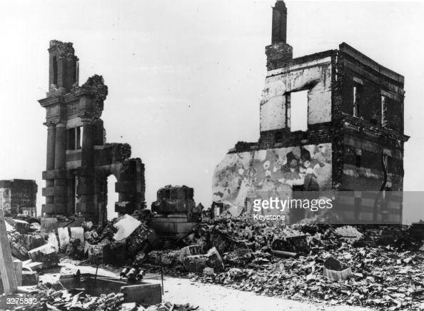 A building stands in ruins after the atomic bomb blast at Hiroshima