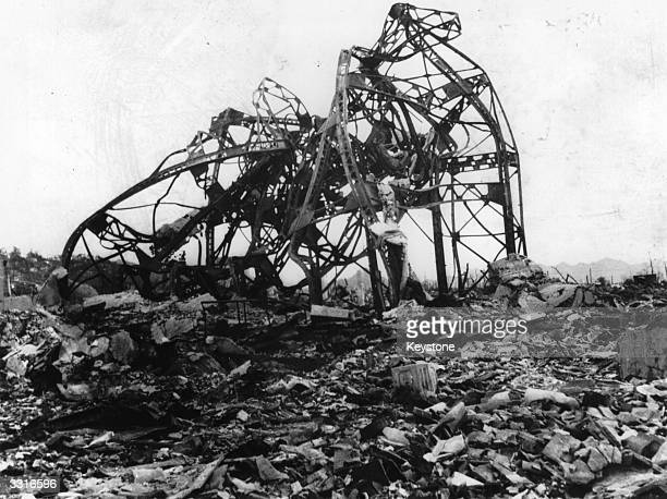 The twisted wreckage of a theatre located 800 metres from the epicentre of the atomic explosion at Hiroshima