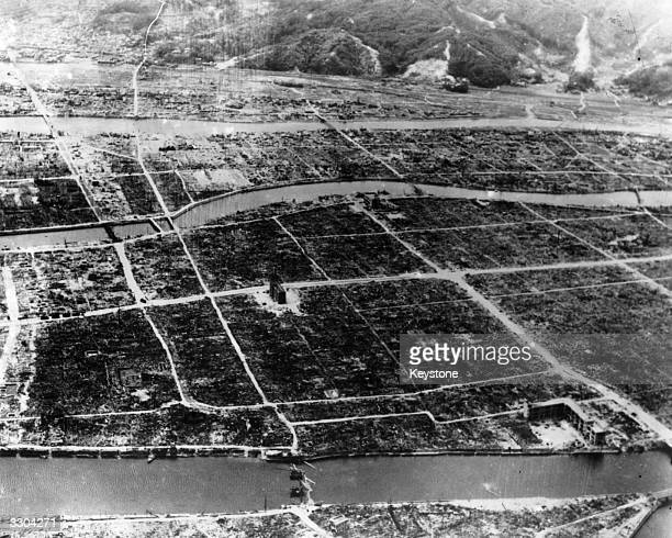 This aerial view of Hiroshima after the dropping of the first atomic bomb shows the total destruction and devastation caused