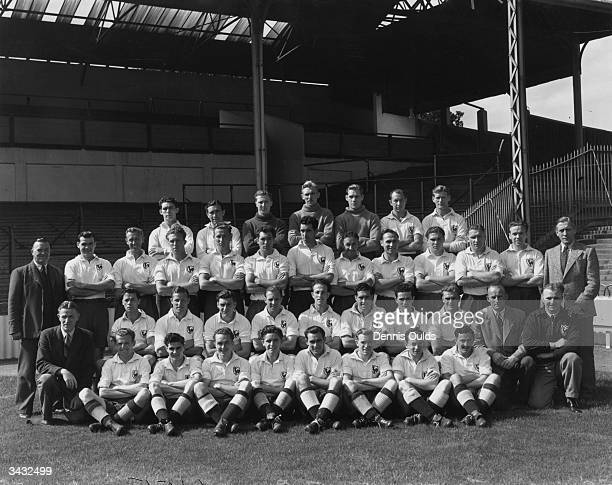 Members of Tottenham Hotspur Football Club W Rees Alf Ramsey S Hayhurst S Markham Ted Ditchburn Ron Burgess and Les Bennett Jimmy Anderson Len...