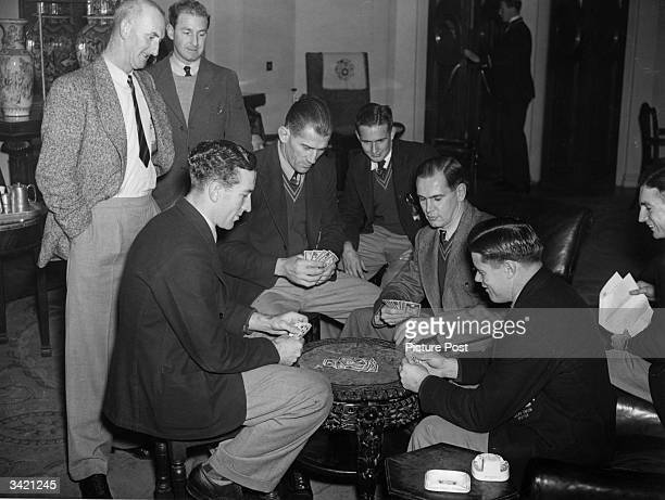 The Australian Rugby Union Team known as the Wallabies playing cards at Cambridge during a British tour Original Publication Picture Post 4496 The...