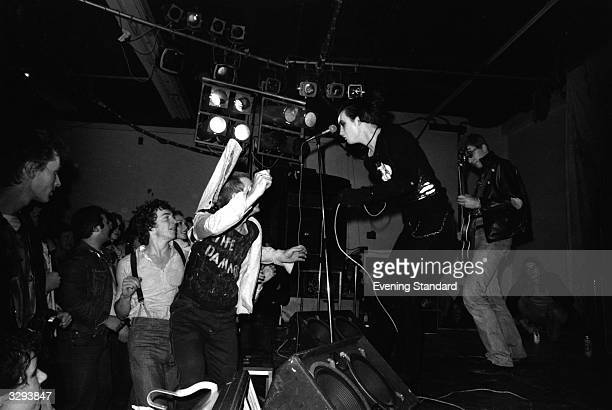 Singer Dave Vanian and guitarist Captain Sensible of English punk group The Damned performing at Leeds Polytechnic