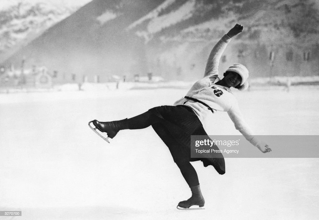 Herma PlanckSzabo of Austria on her way to winning the women's figure skating gold medal at the 1924 Chamonix Winter Olympics