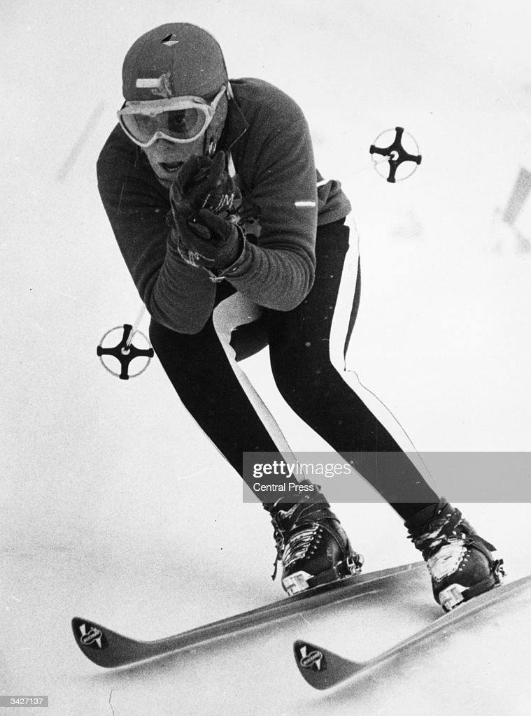 Austrian skier Christl Haas competing in the women's downhill ski race at the Winter Olympics at Innsbruck, which she went on to win.