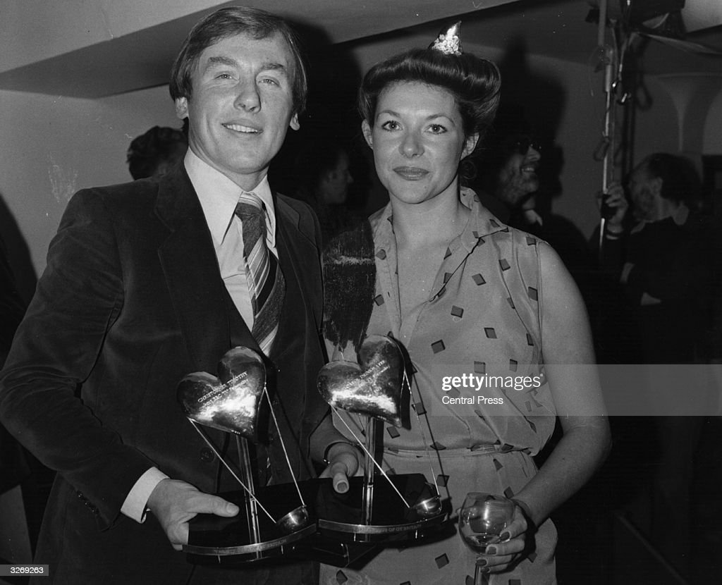 British actor and actress, Christopher Timothy and Carol Drinkwater, holding their joint BBC television personality award, for the series 'All Creatures Great and Small'.
