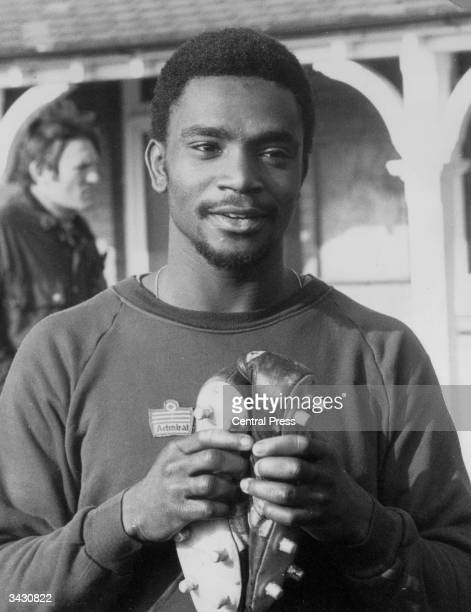 West Bromwich Albion striker Laurie Cunningham during an England training session before a game against Northern Ireland