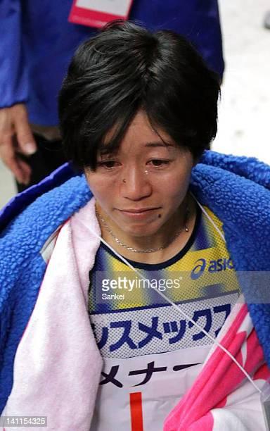 6th finish Mizuki Noguchi reacts after the Nagoya Women's Marathon 2012 at Nagoya Dome on March 11 2012 in Nagoya Japan