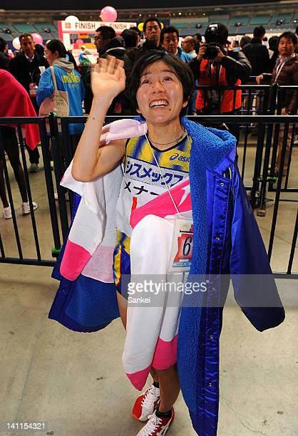 6th finish Mizuki Noguchi waves to the fans after the Nagoya Women's Marathon 2012 at Nagoya Dome on March 11 2012 in Nagoya Japan