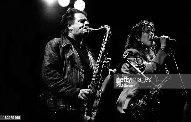 Dutch saxophonist Hans Dulfer performs live on stage with his daughter Candy Dulfer at Nighttown in Rotterdam Netherlands on 6th January 1989