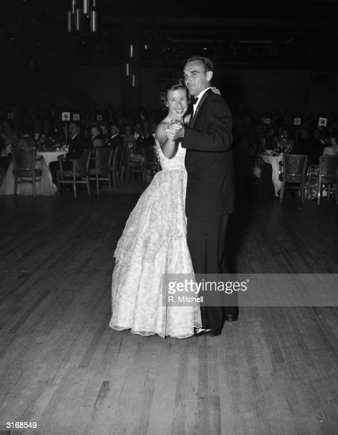 American Tennis champions Maureen Connolly and Vic Seixas dancing at the Wimbledon ball