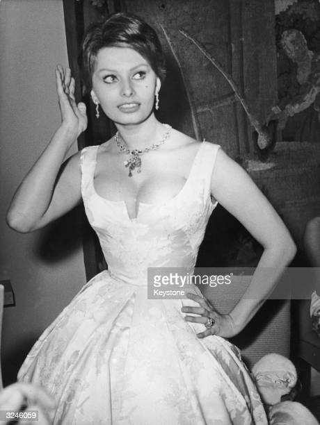 Italian actress Sophia Loren attends a ball in the Funkturm during the 9th International Film Festival in Berlin