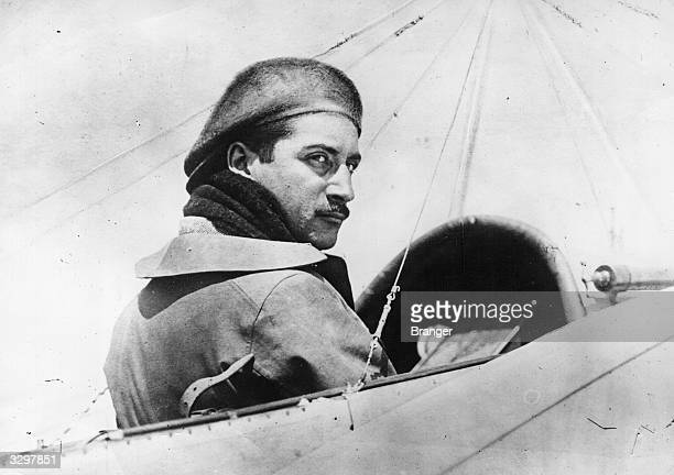 French aviator Roland Garros in the cockpit of an aircraft