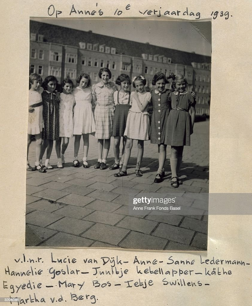Group portrait at <a gi-track='captionPersonalityLinkClicked' href=/galleries/search?phrase=Anne+Frank&family=editorial&specificpeople=173492 ng-click='$event.stopPropagation()'>Anne Frank</a>'s (1929 - 1945) 10th Birthday party taken from her photo album, Merwedeplein, Amsterdam, Holland.
