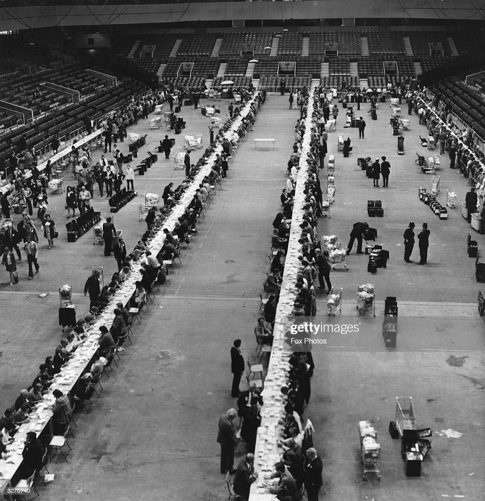 Votes in the Common Market Referendum being counted at Earl's Court Exhibition Centre, London.
