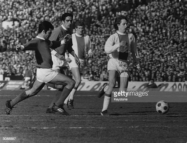 Dutch player Johan Cruyff one of the key players in the Ajax win in the European Cup at Colombes gets to the ball