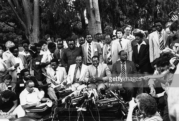 Dr Robert Gabriel Mugabe newly elected President of Zimbabwe holds a Press Conference in his garden in Mount Pleasant Salisbury