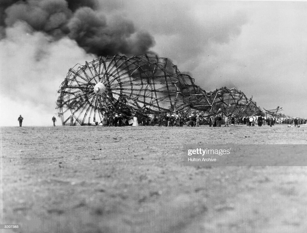 The skeleton of the zeppelin Hindenburg in flames, Lakehurst, New Jersey. A hydrogen-filled, the dirigible caught fire while attempting to land, exploding and crashing, killing many of its passengers and crew.