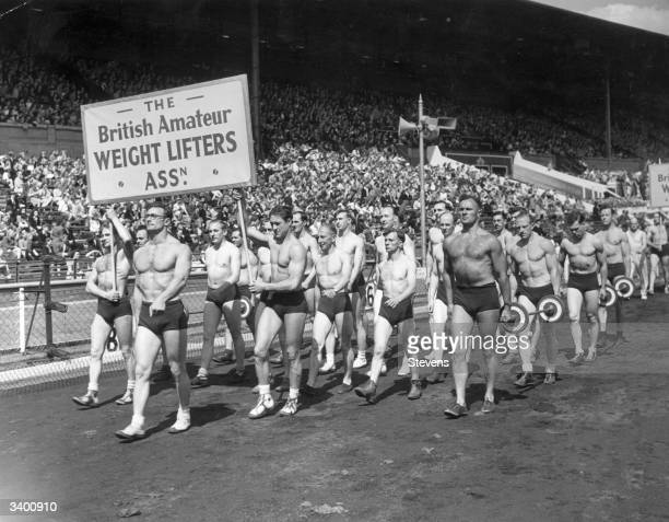 Duchess of Kent at the National Festival of Youth The British Amateur Weight Lifting Association contingent march pass the saluting base at the...