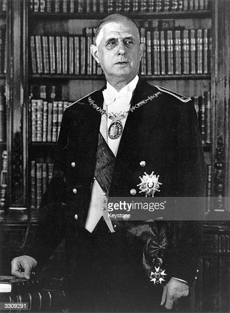 Charles Andre Joseph Marie de Gaulle French politician and President wearing his Legion D'Honneur ribbon