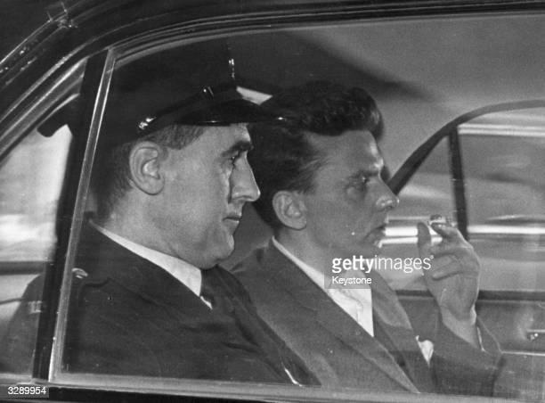 Moors Murderer Ian Brady being taken to court in a car