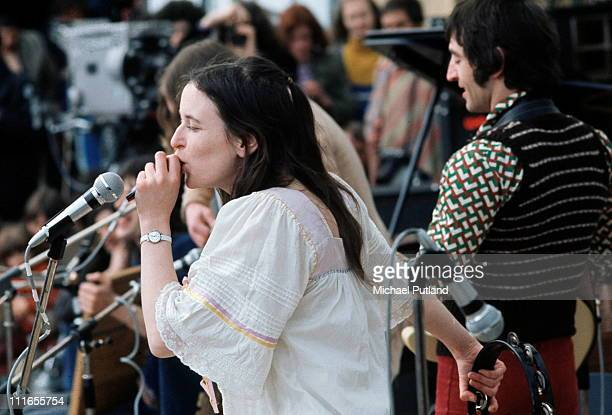 Christina 'Licorice' McKechnie Mike Heron of Incredible String Band perform on stage at the Bickershaw Festival near Manchester England on 6th May...