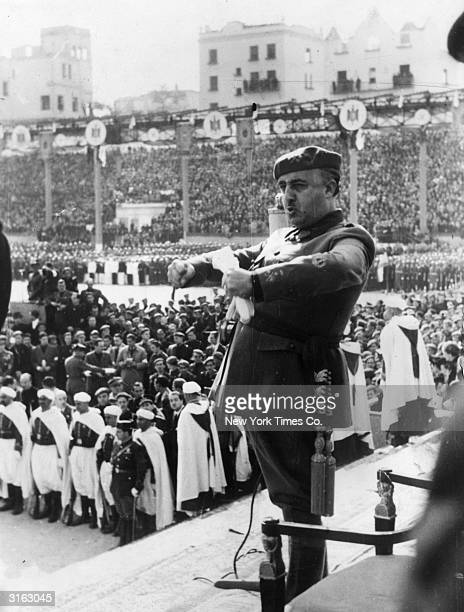 Spanish dictator General Franco addressing a gathering of youth organisations in Madrid