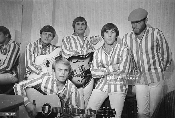 American rock group The Beach Boys at the Finsbury Astoria They are Bruce Johnston Al Jardine Carl Wilson Dennis Wilson and Mike Love