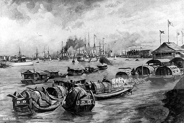 The Allied powers' fleet at Shanghai harbour during the Boxer Rebellion Original Publication Illustrated London News pub 1900