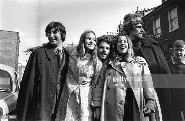 California based popfolk vocal harmony group Mamas And The Papas in England celebrating after theft charges were dropped against 'Mama' Cass Elliot...
