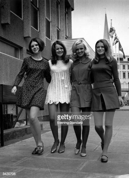 Models wearing four variations on the mini dress
