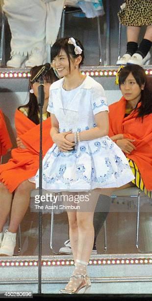 6th place Sayaka Yamamoto speaks during the AKB48 37th Single General Election at Ajinomoto Stadium on June 7 2014 in Chofu Tokyo Japan