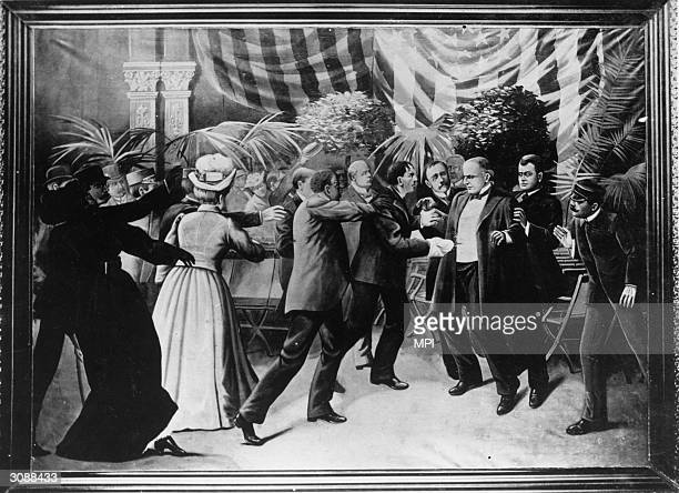 A horrified crowd looks on as Leon Czolgosz shoots President William McKinley at the PanAmerican Exposition in Buffalo New York Wash drawing by T...