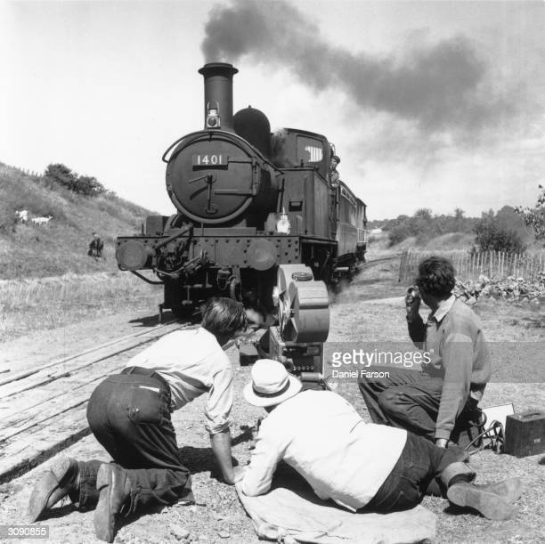 A scene from the Ealing comedy 'Titfield Thunderbolt' with the Thunderbolt played by the 'Lion' a 114 year old locomotive lent by the Liverpool...