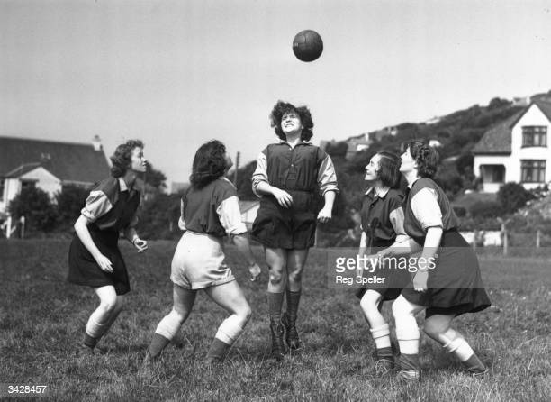 Members of 'The Amazons' women's football team training at Combe Martin Devon Pat Camp Daphne Challcombe Marcia Gubb Rosemary Bowles and Elizabeth...