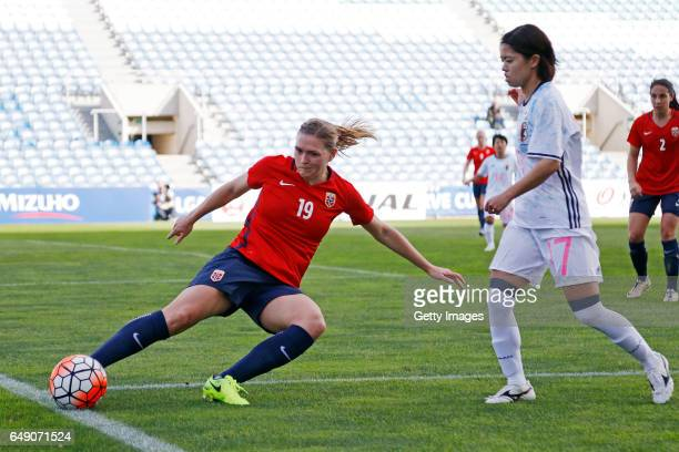 Yui Hasegawa of Japan Women challenges Ingvild Isaksen of Norway Women during the match between Norway v Japan Women's Algarve Cup on March 3rd 2017...
