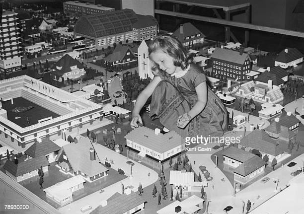 6yearold Philippa Smith plays with a Lego city at Selfridges department store in London 22nd August 1962